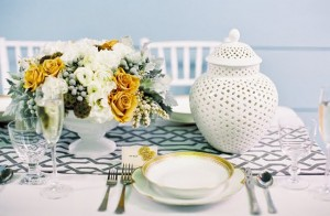silver white and gold table runner wedding