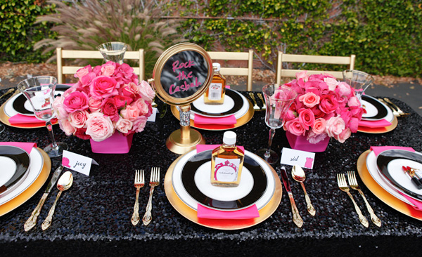 black sequin tablecloth hot pink flowers gold wedding