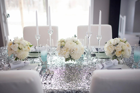 silver sequin linens white blue wedding