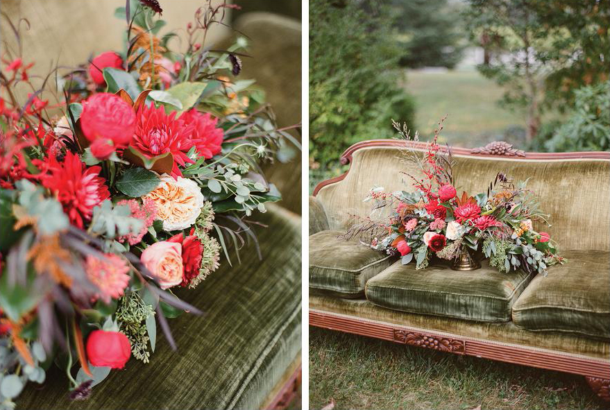 olive green couch red flowers bouquet wedding