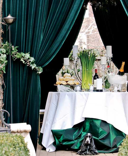 forest green emerald curtains wedding inspiration